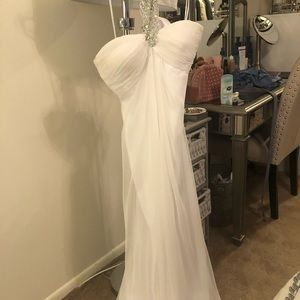 White la femme rhinestone halter prom dress!